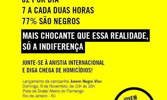 Anistia Internacional lança campanha Jovem Negro Vivo neste domingo