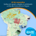 Mapa concebido pela Abong, com municípios que lembram oficialmente a morte de Zumbi dos Palmares