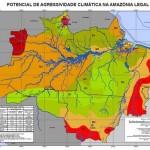 Mapa divulgado neste dia 17 de novembro pelo IBGE, sobre potencial de agressividade climática na Amazônia