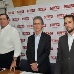Anselmo Riso, José Nunes Filho e Augusto Ruas apresentam o panorama da indústria em janeiro (Foto Martinho Caires)