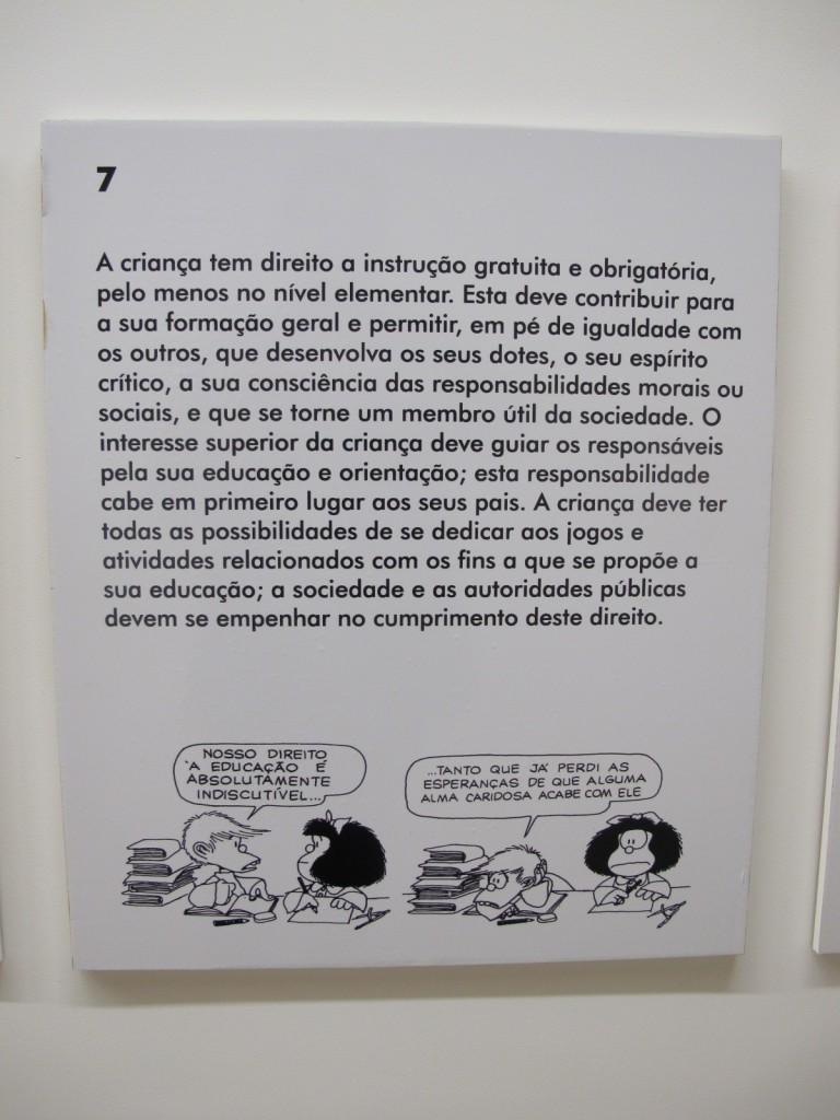 Declaração dos Direitos da Criança segundo Mafalda é um dos atrativos da exposição