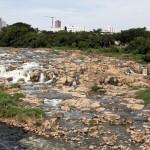 Rio Piracicaba, no famoso salto, com menos de 10% de sua vazão histórica em janeiro de 2015, ano que continuou a registrar muitas mortandades de peixes nas bacias PCJ (Foto Adriano Rosa)