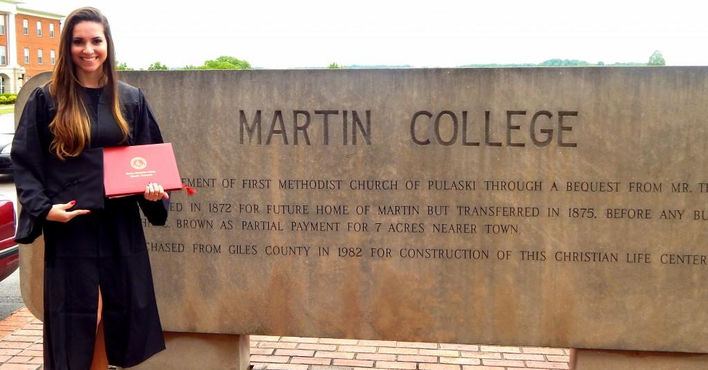 Formatura de Caroline no Martin College (Foto Arquivo Pessoal)