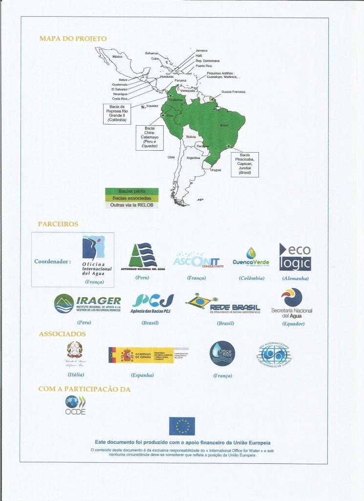 Localização das três bacias beneficiadas e relação de parceiros do EcoCuencas
