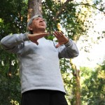 O economista Nelson Iba, de 69 anos, ensina os exercícios de Lian Gong voluntariamente no Bosque dos Jequitibás, há 17 anos, duas vezes por semana   Fotos: Adriano Rosa