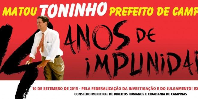 Conselho de Direitos Humanos pede federalização da investigação do assassinato de Toninho