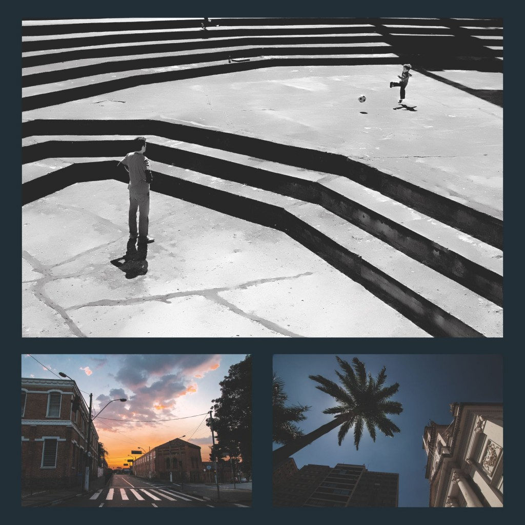 Um flagrante no teatro de arena do Centro de Convivência Cultural, construção moderna da cidade; um outro ângulo da Estação Ferroviária e a Catedral Metropolitana de Campinas (Fotos: Martinho Caires)