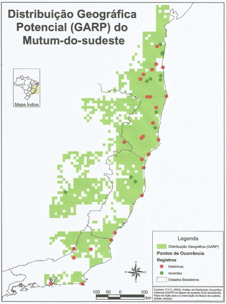 Distribuição geográfica original do Mutum-do--sudeste, incluindo Leste de Minas Gerais (Fonte: PAN Mutum-do-sudeste)