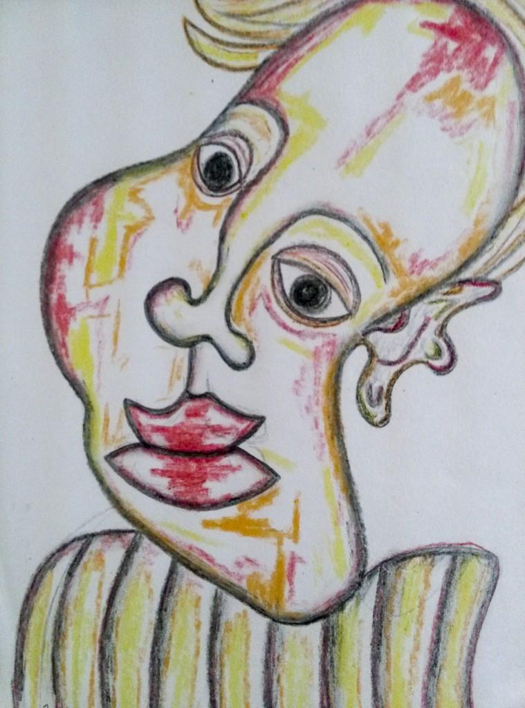 Desenho em papel sulfite com lápis de cor, de Ivan Pereira