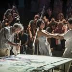 """Performance """"Pintura e Movimento"""" une três formas de expressão artística com Egas Francisco (pintura), Hellen Audrey (dança) e Guga Costa (música) no Sesc-Campinas   Fotos: Martinho Caires"""