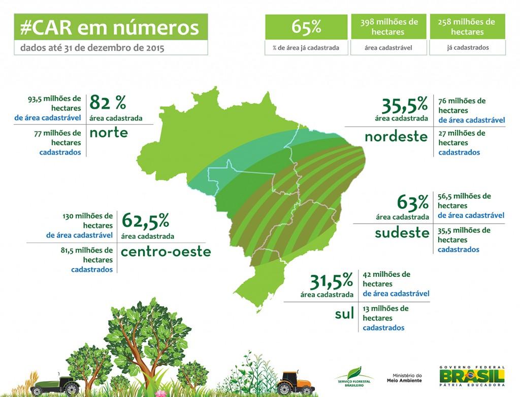 Balanço dos registros no CAR até final de 2015 (Fonte: Serviço Florestal Brasileiro/Ministério do Meio Ambiente)