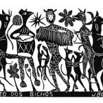 """Xilogravura """"O Forró dos Bichos"""" do artista J.Borges, que expõe seu trabalho no Sesc-Campinas no mês de março e participa de bate-papo com o público no dia 17/03"""