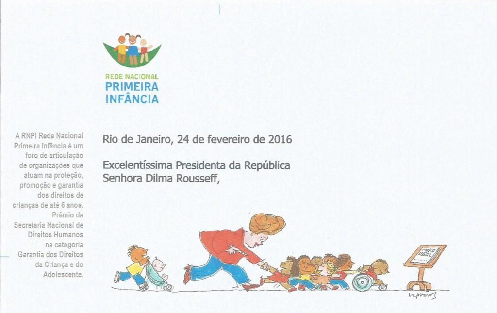 Charge de Claudius Ceccon, na carta da RNPI encaminhada à presidente Dilma