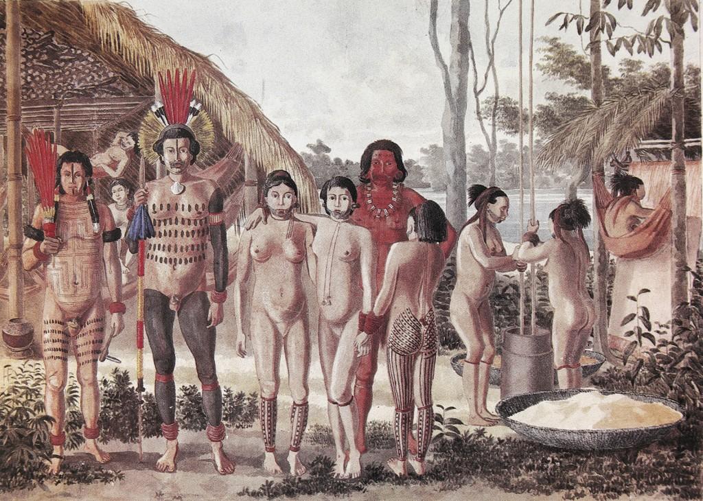 Ilustração feita por Hercule Florence Apiacás. Habitation des Apiacás Sur l'Arinos, Avril, 1828. Aquarela sobre papel, 40,8 x 51,0 cm. Coleção Academia de Ciências da Rússia