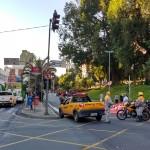 Faixa da avenida Anchieta permaneceu fechada durante assembleia no Paço Municipal, que decretou fim da greve dos servidores após audiência de conciliação na Justiça (Foto José Pedro Martins)