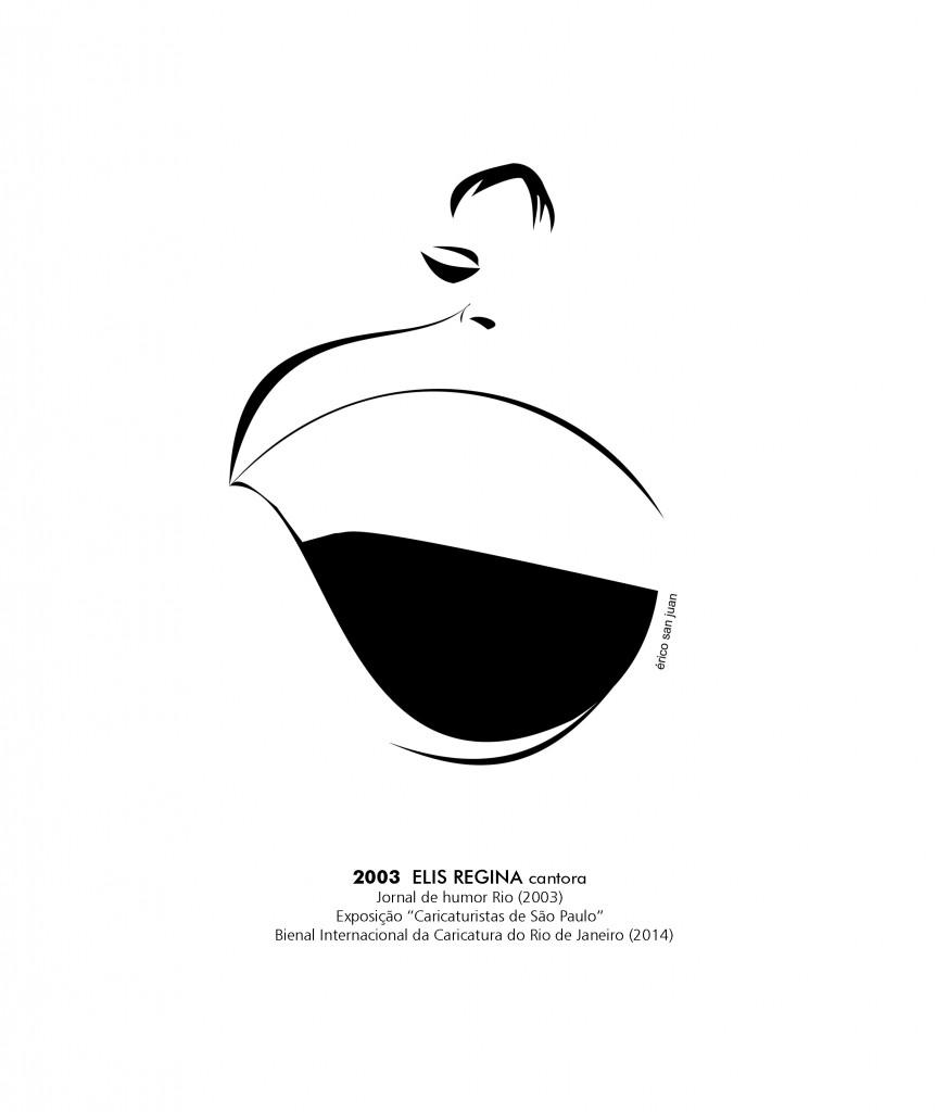 Elis Regina, mais um grande nome da cultura brasileira em caricatura de Érico San Juan