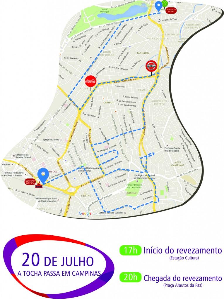 Mapa detalhado do percurso da tocha em Campinas
