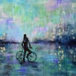 Tela de Synnöve Hilkner com bicicleta como motivo: aliar esporte e meio ambiente é objetivo do PNUMA