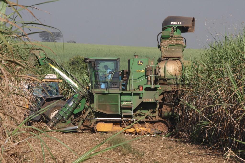 Colheita mecanizada na cana: açúcar e álcool dependem de oscilações do mercado mundial (Foto Adriano Rosa)