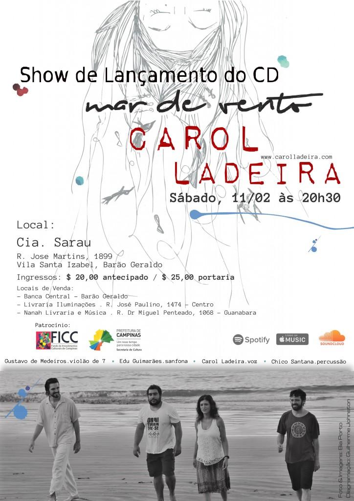 Cartaz do lançamento do novo CD de Carol Ladeira