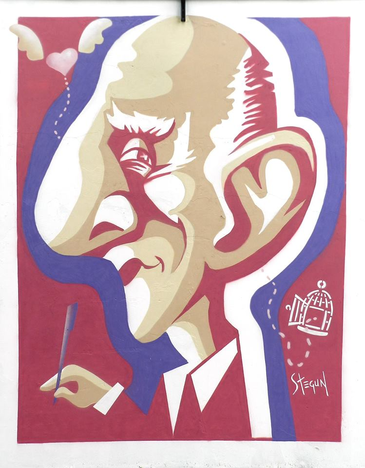 Rubem Alves, na caricatura de Renato Stegun