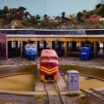Maquete de estação ferroviária com 300 metros de trilho, que pode ser vista hoje no 5º Encontro de Ferromodelismo da Região Metropolitana de Campinas, na Estação Cultura