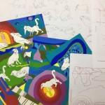 Fases do processo criativo de elaboração do cartaz da Feira SUB 2017 (Foto Divulgação)
