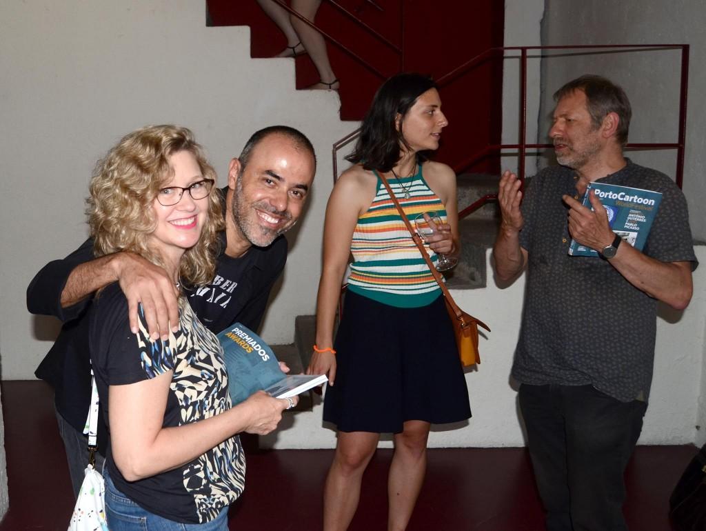Cartunistas Synnove, Dalcio, Cristiana Rodrigues e Luc Vernimmen (Foto Acervo Pessoal  Synnöve Hilkner)