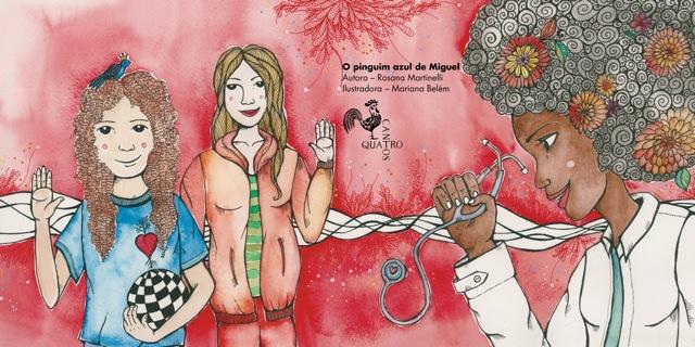 """Página de """"O pinguim azul de Miguel"""", de Rosana Martineli, ilustração de Mariana Belém"""