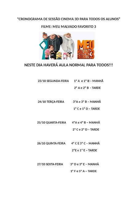 Cronograma da sala de cinema 3D da Escola Rosina entre 23 e 27 de outubro