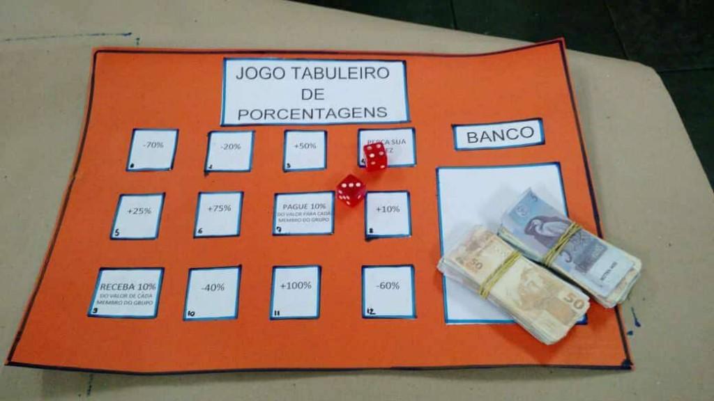 Jogo Tabuleiro de Porcentagens, um dos recursos do LEM da EM Hilton Rocha (Foto Acervo Professora Amabile)