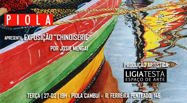 Arte-convite para a exposição CHINOISERIE, em cartaz até 31 de março  no Piola do Cambuí, Campinas