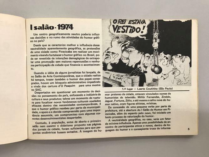 Reprodução da página do primeiro catálogo, com o cartum vencedor de Laerte