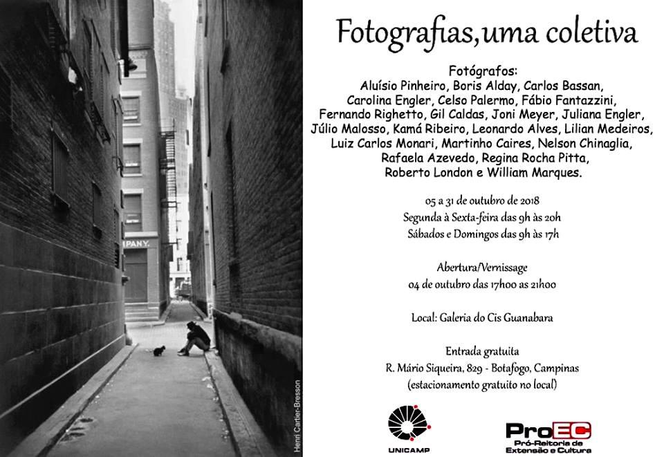 Cartaz da exposição  Fotografias, uma coletiva